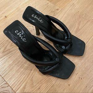 Chic Faux Leather Square Toe Thong Sandal Black